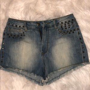Denim High Waisted Shorts With Studded Spi…